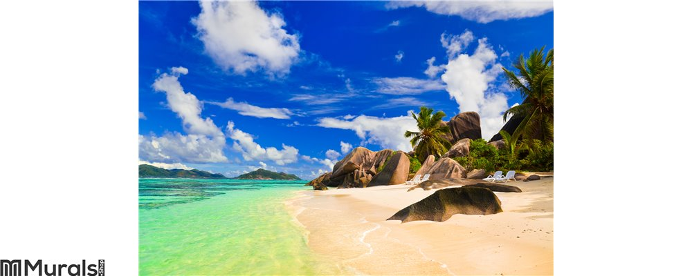 Beach Source d'Argent at Seychelles Wall Mural