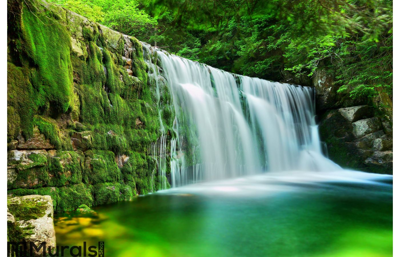 Lake emerald waterfalls forest landscape wall mural for Emerald city wall mural