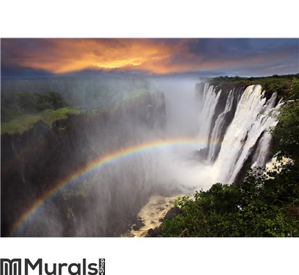 Victoria Falls sunset with rainbow, Zambia Wall Mural Wall art Wall decor