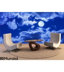 Full Moon Clouds Sky Wall Mural Wall art Wall decor