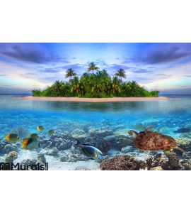 Tropical island of Maldives Wall Mural Wall art Wall decor