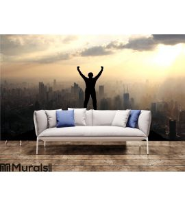 Reaching the summit of a mountain Wall Mural Wall art Wall decor