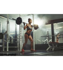 Woman lifting barbell with weight in gym Wall Mural Wall art Wall decor