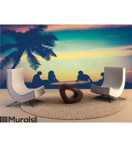 Retro Sunset Hawaii Friends Wall Mural Wall art Wall decor