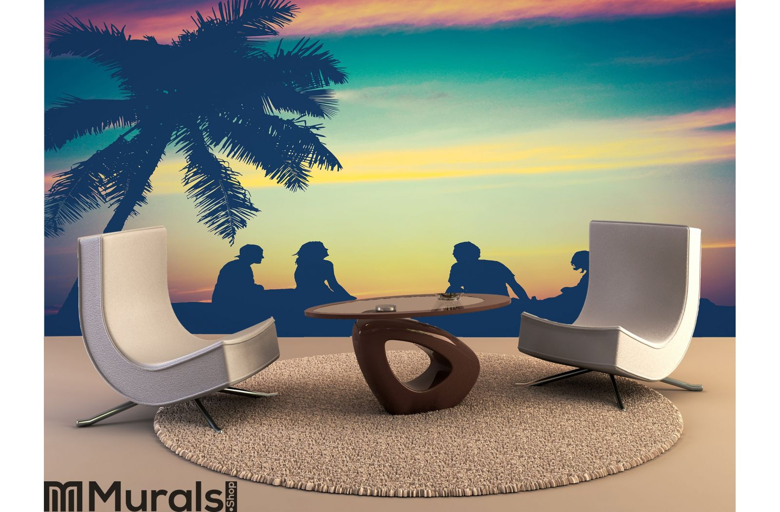 Retro Sunset Hawaii Friends Wall Mural