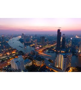 Bangkok at dusk Wall Mural Wall art Wall decor