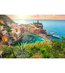 Vernazza village and stunning sunrise,Cinque Terre,Italy,Europe Wall Mural