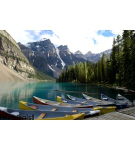 Boats on Moraine Lake, Canada Wall Mural Wall art Wall decor