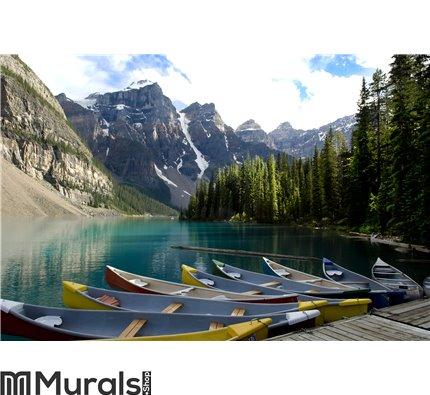 Boats on Moraine Lake, Canada Wall Mural Wall art Wall decor