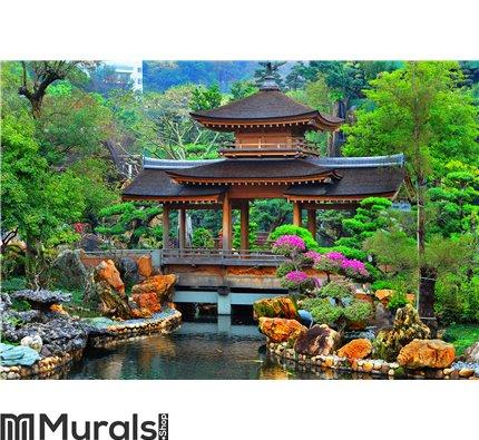 Pagoda In Chinese Zen Garden Wall Mural
