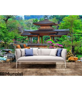 Pagoda in chinese zen garden Wall Mural Wall art Wall decor
