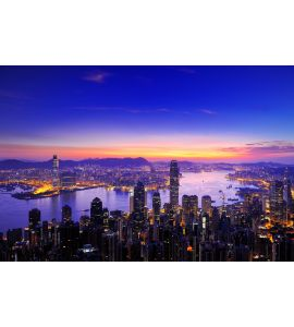 Sunrise of Victoria Harbour , Hong Kong Wall Mural