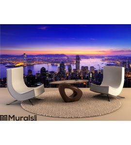 Sunrise of Victoria Harbour , Hong Kong Wall Mural Wall art Wall decor
