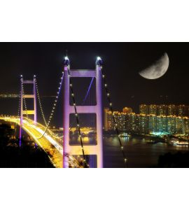 Night scenes of Tsing Ma Bridge Wall Mural