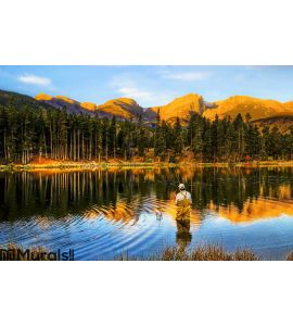 Fishing at Sunrise, in Colorado Mountains Wall Mural