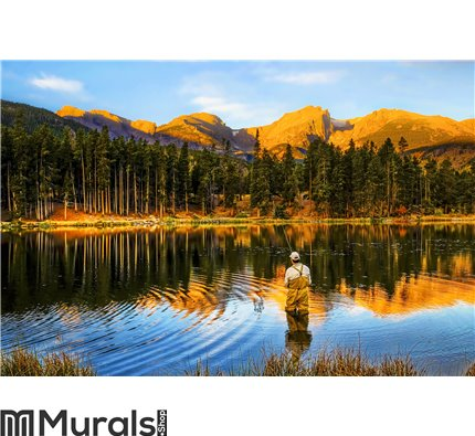 Fishing at Sunrise in Colorado Mountains Wall Mural