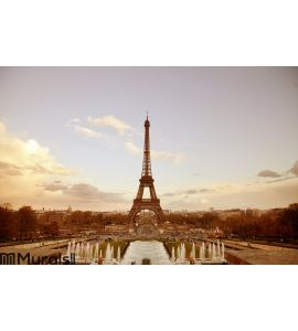Paris sepia cityscape with Eiffel tower Wall Mural