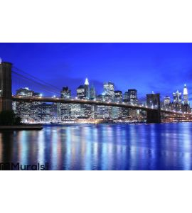 Brooklyn Bridge and Manhattan skyline At Night Wall Mural