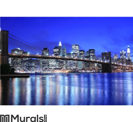 Brooklyn Bridge And Manhattan Skyline At Night Wall Mural Part 94