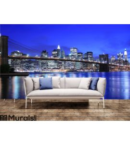 Brooklyn Bridge and Manhattan skyline At Night Wall Mural Wall art Wall decor