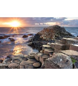 Sunset at Giant s causeway Wall Mural