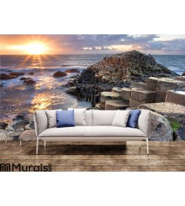 Sunset at Giant s causeway Wall Mural Wall art Wall decor