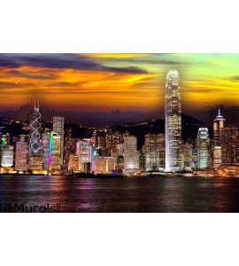 Hong kong at night Wall Mural