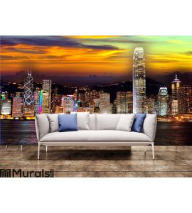Hong kong at night Wall Mural Wall art Wall decor