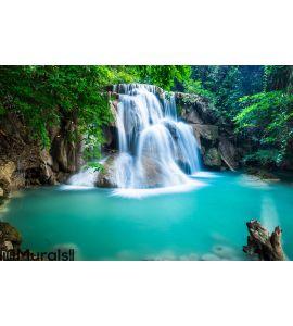 Huay Mae Kamin Waterfall in Kanchanaburi province, Thailand Wall Mural
