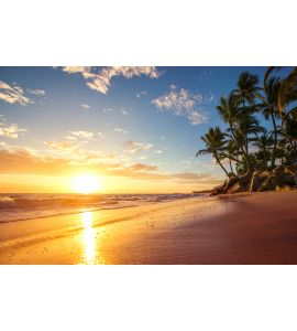 Dreamy sunrise on a tropical island Wall Mural