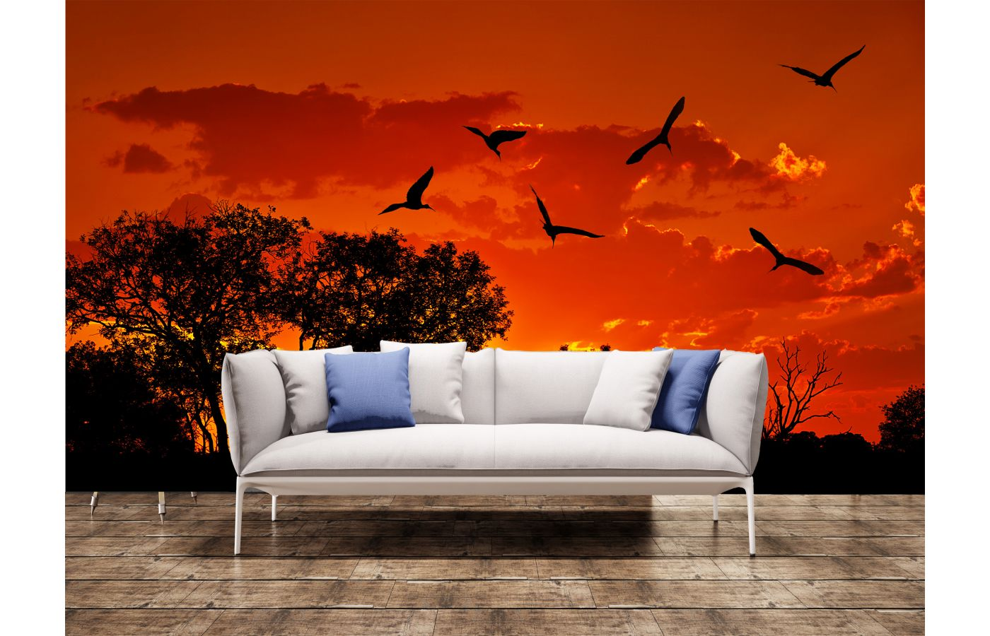 Landscape Of Africa With Warm Sunset Wall Mural
