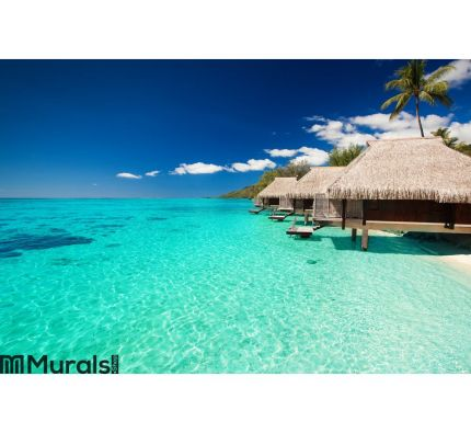 villas-on-the-tropical-beach-wall-mural.jpg Wall Tapestry tapestries