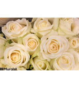 Bouquet of cream-white roses Wall Mural Wall art Wall decor