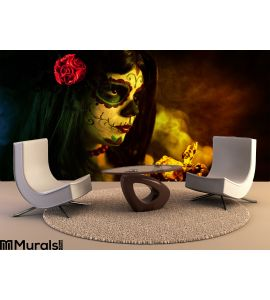 Artistic Shot Sugar Skull Girl Dead Roses Wall Mural Wall art Wall decor