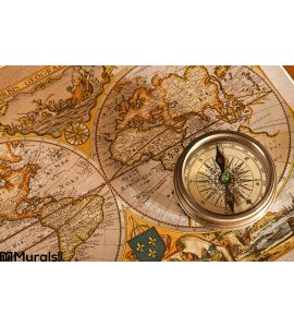 Old Map and Compass Concepts Wall Mural