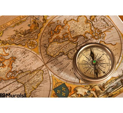 Old Map and Compass Concepts Wall Mural Wall art Wall decor
