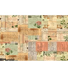 Vintage Paper Ephemera Text Flowers Collage Wall Mural