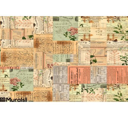 Vintage Paper Ephemera Text Flowers Collage Wall Mural Wall art Wall decor