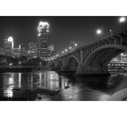 Downtown Minneapolis Mn Black White Wall Mural Wall art Wall decor