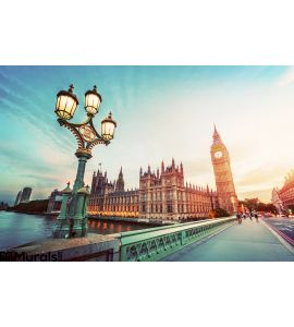 Big Ben London Uk Sunset Retro Street Lamp Light Westminster Bridge Vintage Wall Mural Wall art Wall decor