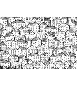 City Seamless Pattern Balck White Wall Mural Wall art Wall decor