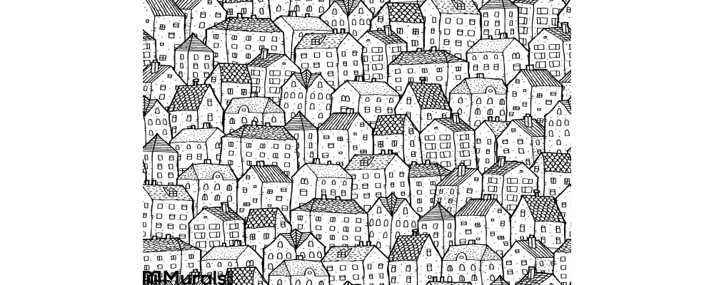 City Seamless Pattern Balck White Wall Mural