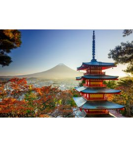 Mt. Fuji with Chureito Pagoda, Fujiyoshida, Japan Wall Mural