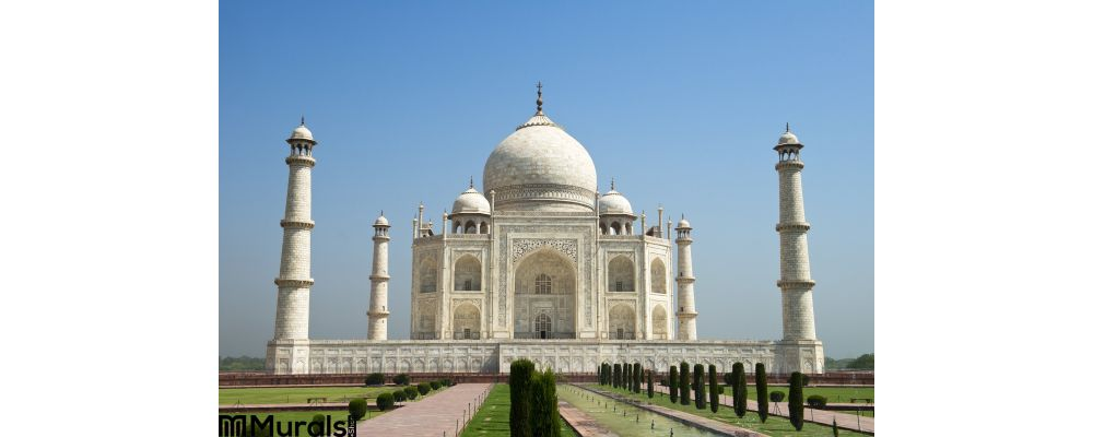 Taj Mahal Blue Sky Travel To Agra India Wall Mural