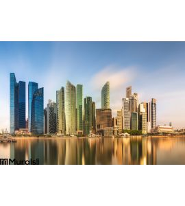 Singapore Skyline and view of Marina Bay Wall Mural