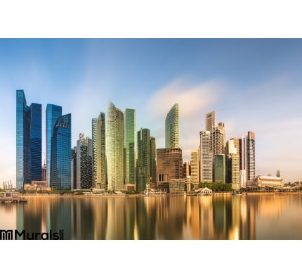 Singapore Skyline and view of Marina Bay Wall Mural Wall art Wall decor