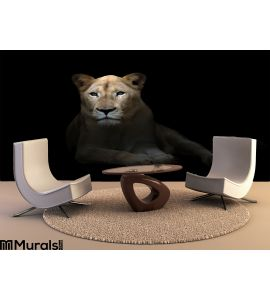 Female White Lion Dark Wall Mural Wall art Wall decor