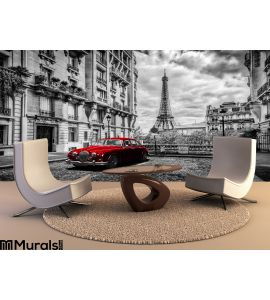 Artistic Paris France Eiffel Tower Seen Street Red Retro Limousine Car Wall Mural Wall art Wall decor