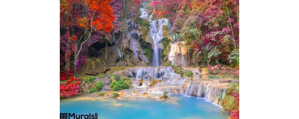 Waterfall Rain Forest Tat Kuang Si Waterfalls Luang Praba Wall Mural