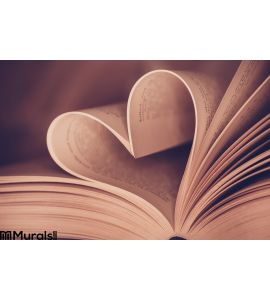 Heart Book Page Close Up Wall Mural Wall art Wall decor